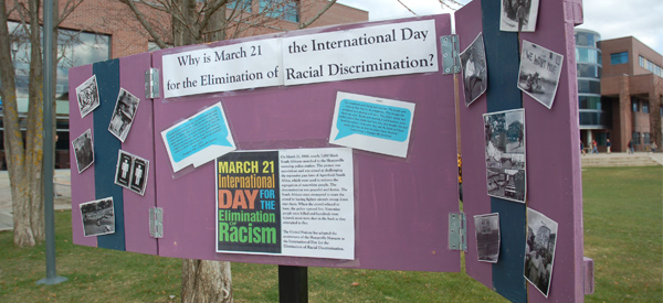 Rule Out Racism shutters in the courtyard